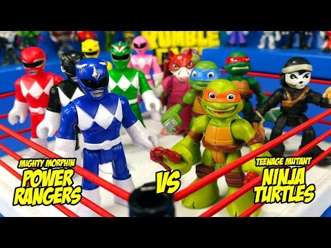 Thumbnail: Ninja Turtles vs Power Rangers Toys Shake Rumble Wrestling Match // RUMBLE LEAGUE by KIDCITY