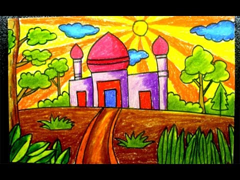 Oil Pastels For Kids How To Draw Masjid Easy Youtube