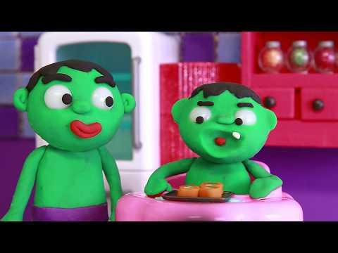 Hulk & Baby Hulk Superhero Babies 💕 Frozen Elsa Play Doh Stop Motion and  Cartoons For children