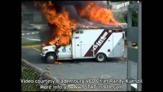 STATter911.com: Explosion lifts roof off burning ambulance in Mt. Rainier, MD.