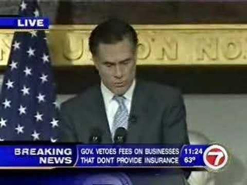 Romney-Kennedy Health Care Bill Signing