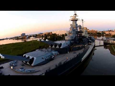DJI - USS North Carolina Battleship @ Sunset - Wilmington, NC - Navy Drone Cam