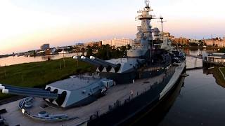 USS North Carolina Battleship - Drone View @ Sunset