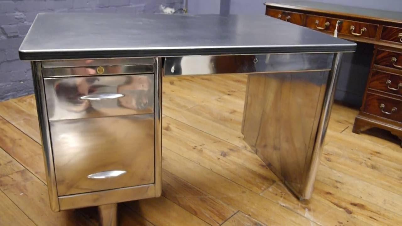 Vintage 1950s Stripped Polished Metal Desk