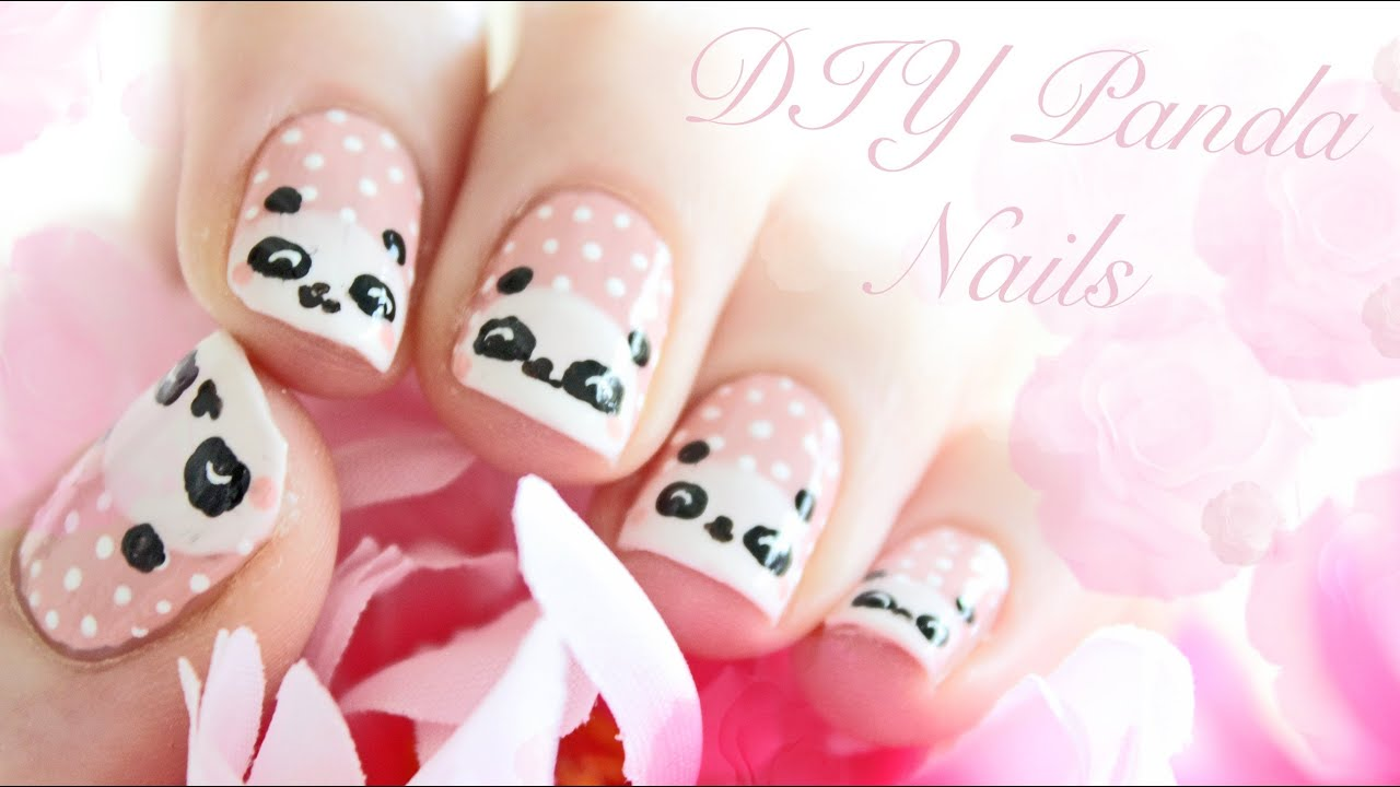 Cute panda nails tutorial youtube prinsesfo Images