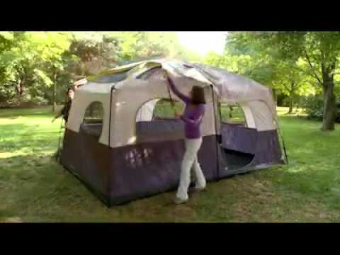 & Ozark Trail Straight Wall 10 Person 2 Room Cabin Tent - YouTube