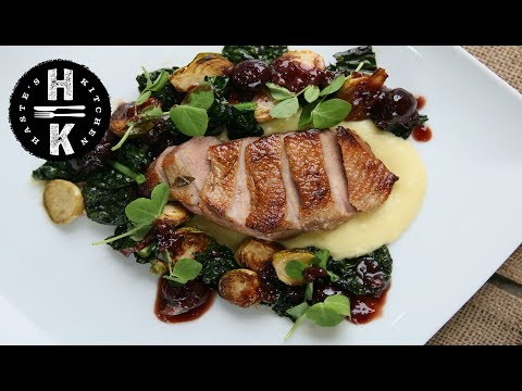 Duck breast with parsnip purée and cherry, port reduction #Ad