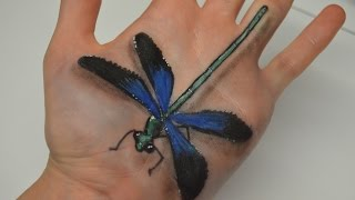 Hand Art : 3D Dragonfly Drawing