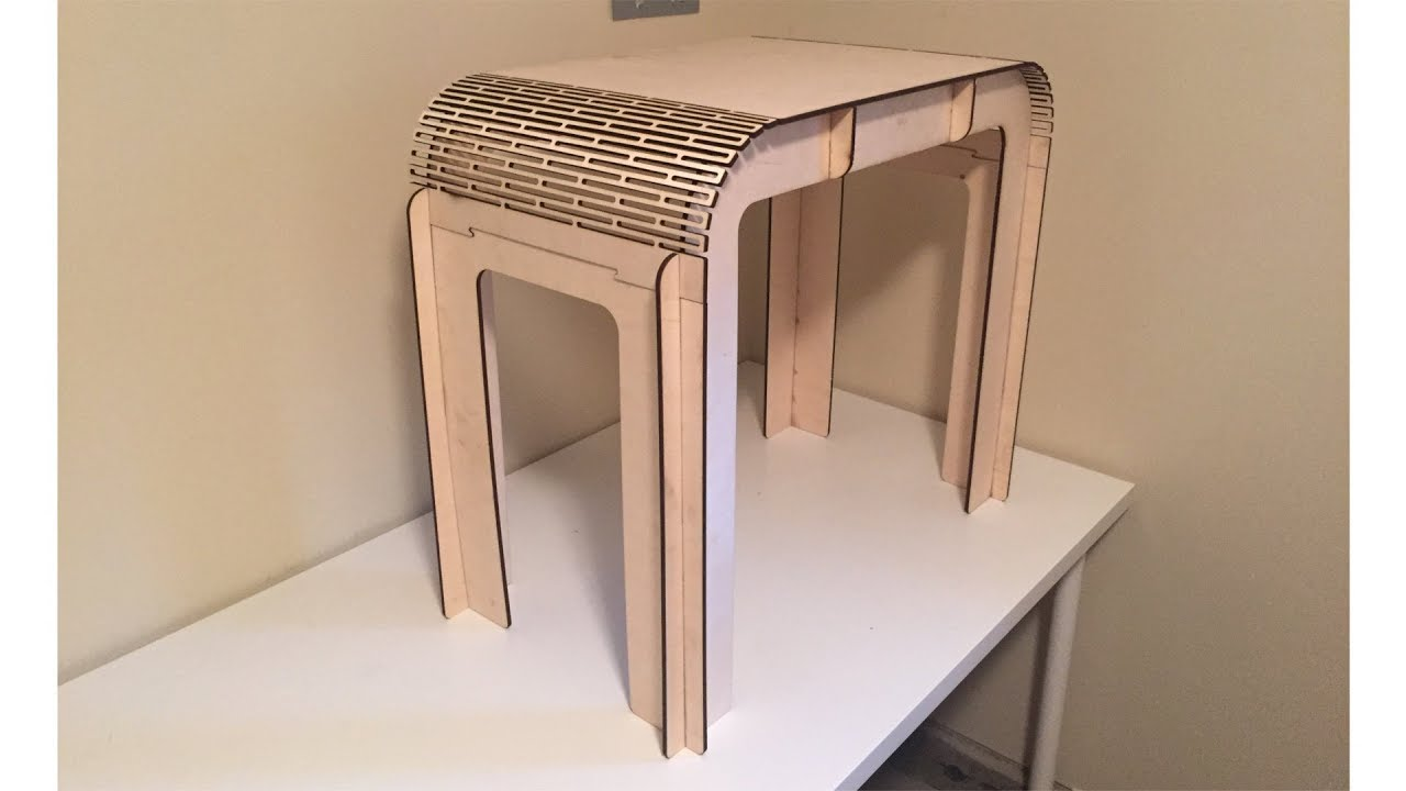 Laser Cut Bedside Table With Living Hinge Youtube