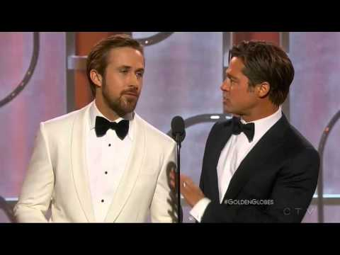 Thumbnail: Ryan Gosling and Brad Pitt present at the 2016 Golden Globes