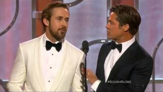 Ryan Gosling And Brad Pitt Present At The 2016 Golden Globes