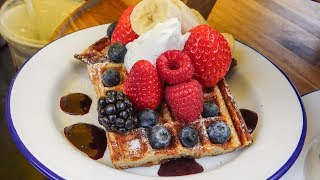 Amazing Waffle With Fresh Fruit and Cream. Seen and Tasted in Broadway Market, London