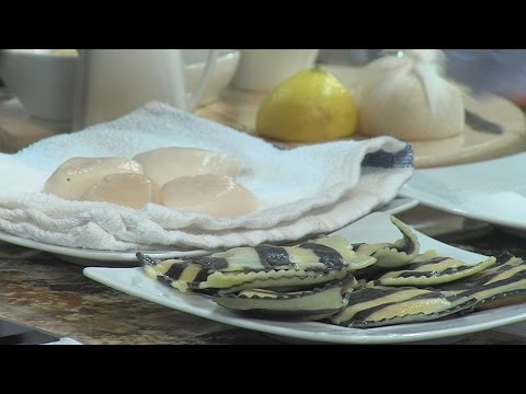 In The Kitchen: Scallops and Lobster Ravioli in White Wine Sauce