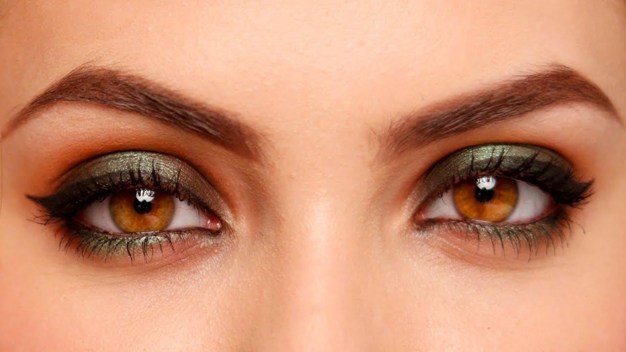 green smokey eyes makeup tutorial for beginners with brown or hazel deep set eyes