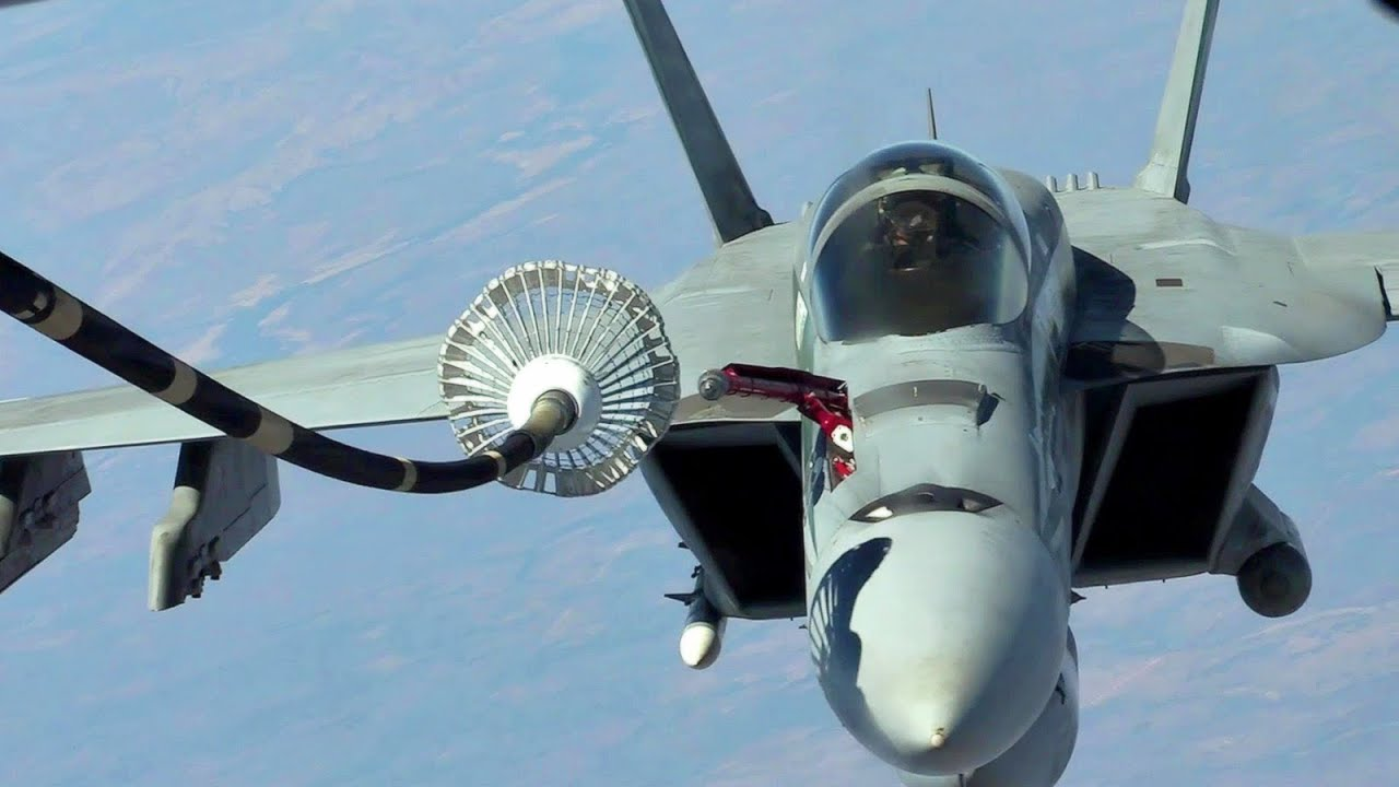 USAF KC-10 Air Refueling With F-18 Super Hornet (Probe And ...