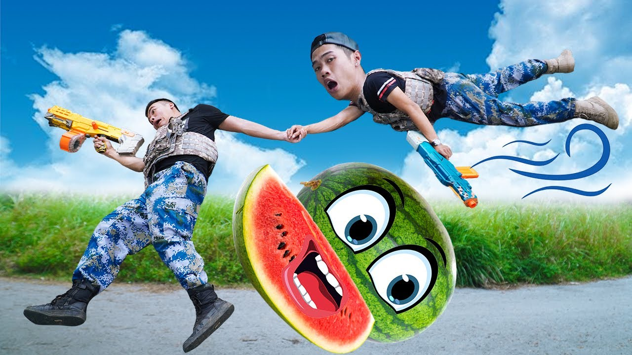 Battle Nerf War: Genius & Blue Seal Nerf Guns Robbers Team WATERMELON MIX BATTLE