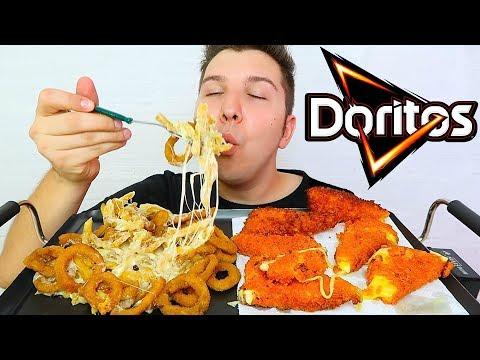 Onion Rings *CHEESY EDITION* Cheese Fries & Cheese Stuffed Doritos 먹방 MUKBANG CHALLENGE