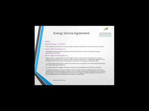 Westchester Smart Power: ESA Contract Recap and Q&A Session