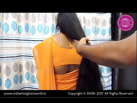 ILHW Rapunzel Ganga Getting Buned her Extra Thick Below Knee Length Silk by Male Hairdresser