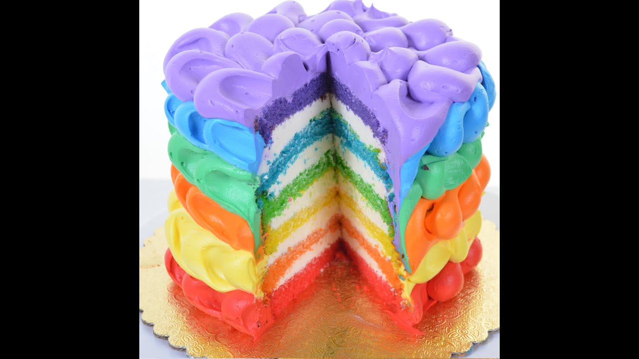 Rainbow Cake Decorating Tutorial How to decorate rainbow birthday