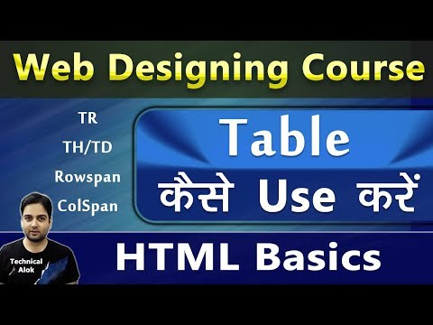 10. Use Of Table, TR, TD, ColSpan, RowSpan In HTML - Explained In Hindi