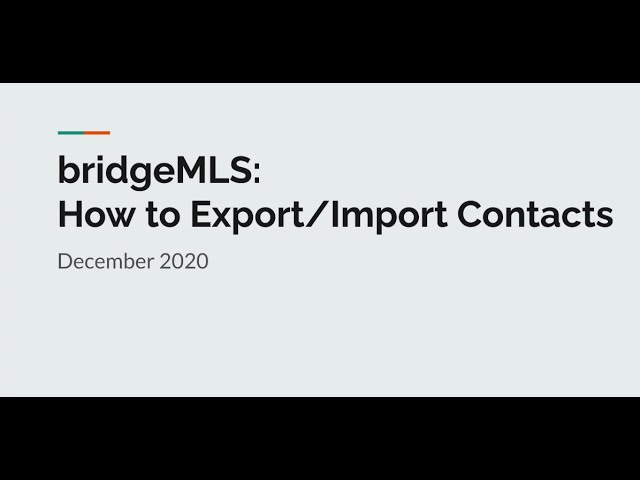 bridgeMLS Instruction Videos