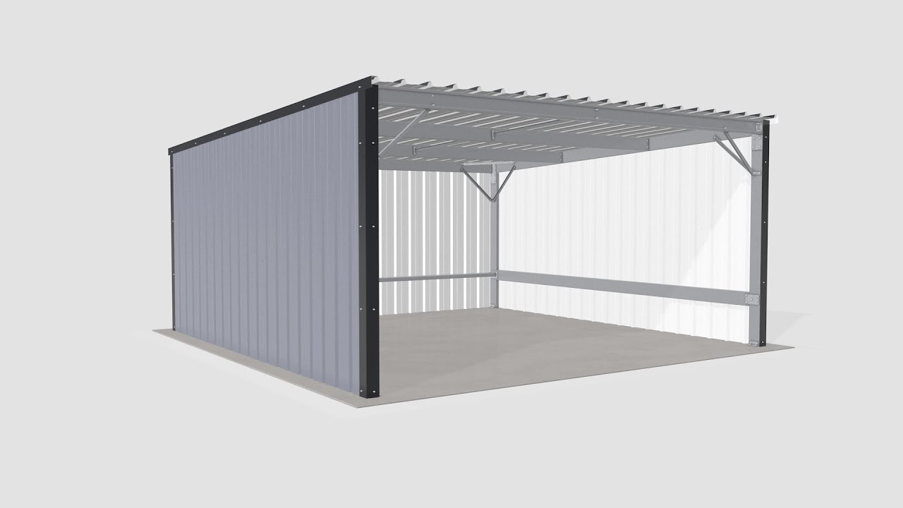 Steel Metal Shed Carport Assembly Youtube