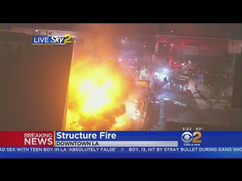 Crews Battle Massive Commercial Fire In Downtown LA