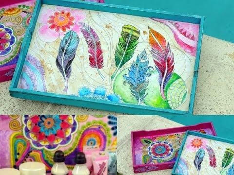 Pintar con lacas vitrales al agua bandeja de madera for Laca al agua para muebles