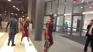 Spain national team arriving at the FNB Stadium
