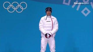 JO 2018 : Ski Alpin - Géant hommes. Alexis Pinturault reçoit sa médaille de bronze