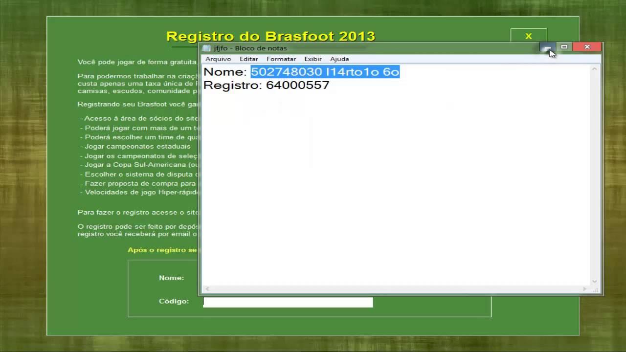 o registro do brasfoot 2013 gratis