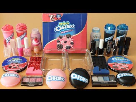 "Mixing""Pink Oreo VS Oreo"" Eyeshadow and Makeup,parts Into Slime!Satisfying Slime Video!★ASMR★"