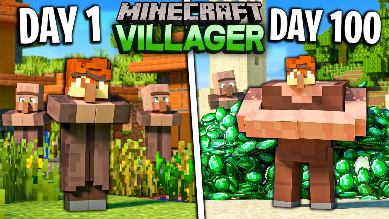 I Survived 100 Days as a VILLAGER in Minecraft