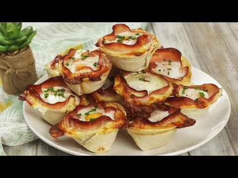 Tortilla cups with ham and eggs for a tantalizing appetizer
