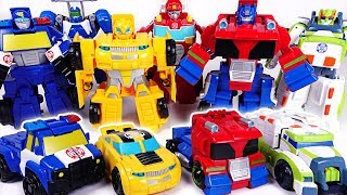 Dinosaur set a fire! Go! Transformers Rescue bots Optimus Prime, Bumblebee! - DuDuPopTOY