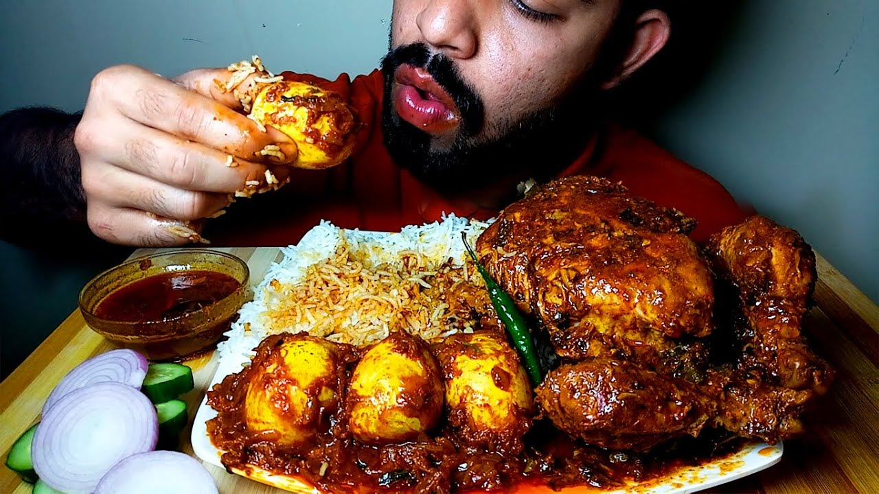 VERY SPICY FULL YUMMY CHICKEN CURRY || EGG MASALA AND RICE EATING SHOW||#HungryPiran