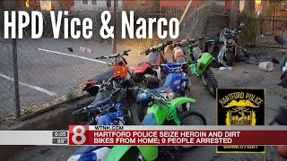 Police bust 9 allegedly selling drugs on stolen dirt bikes