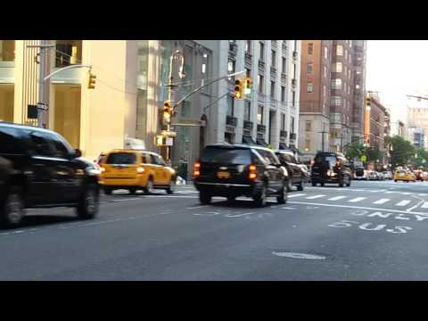 United States Secret Service Passing By With Donald Trump In Manhattan, New York
