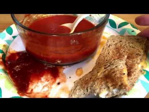 ASMR Grilled Cheese Sandwich and Tomato Soup ***SLURPING SOUNDS, WHISPER