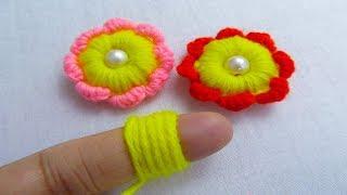 Hand Embroidery Amazing Trick, Woolen Flower Embroidery Trick, Easy Flower Embroidery Trick