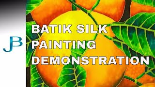 BATIK SILK PAINTING WITH JEAN-BAPTISTE - FINE ART - ORANGES