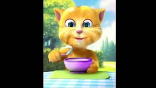 Говорящий кот Том кушает под музыку