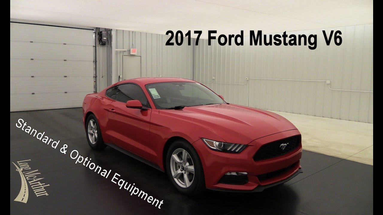 2017 ford mustang v6 standard optional equipment youtube. Black Bedroom Furniture Sets. Home Design Ideas