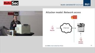"RuhrSec 2017: ""How to Hack Your Printer"", Jens Müller"