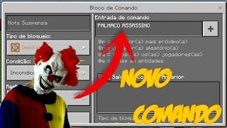 COMANDO DO PALHAÇO ASSASSINO NO MINECRAFT POCKET EDITION 1.1.1 (COMMAND BLOCK)