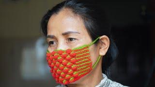 Crochet Mask with Strawberry design Amazing Crochet Face Warmer