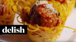 Spaghetti and Meatball Bites | Delish