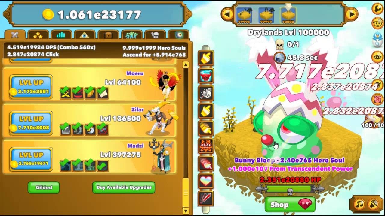 Clicker Heroes level 100000 - final boss fight, patch 1 0e9 [spoilers]