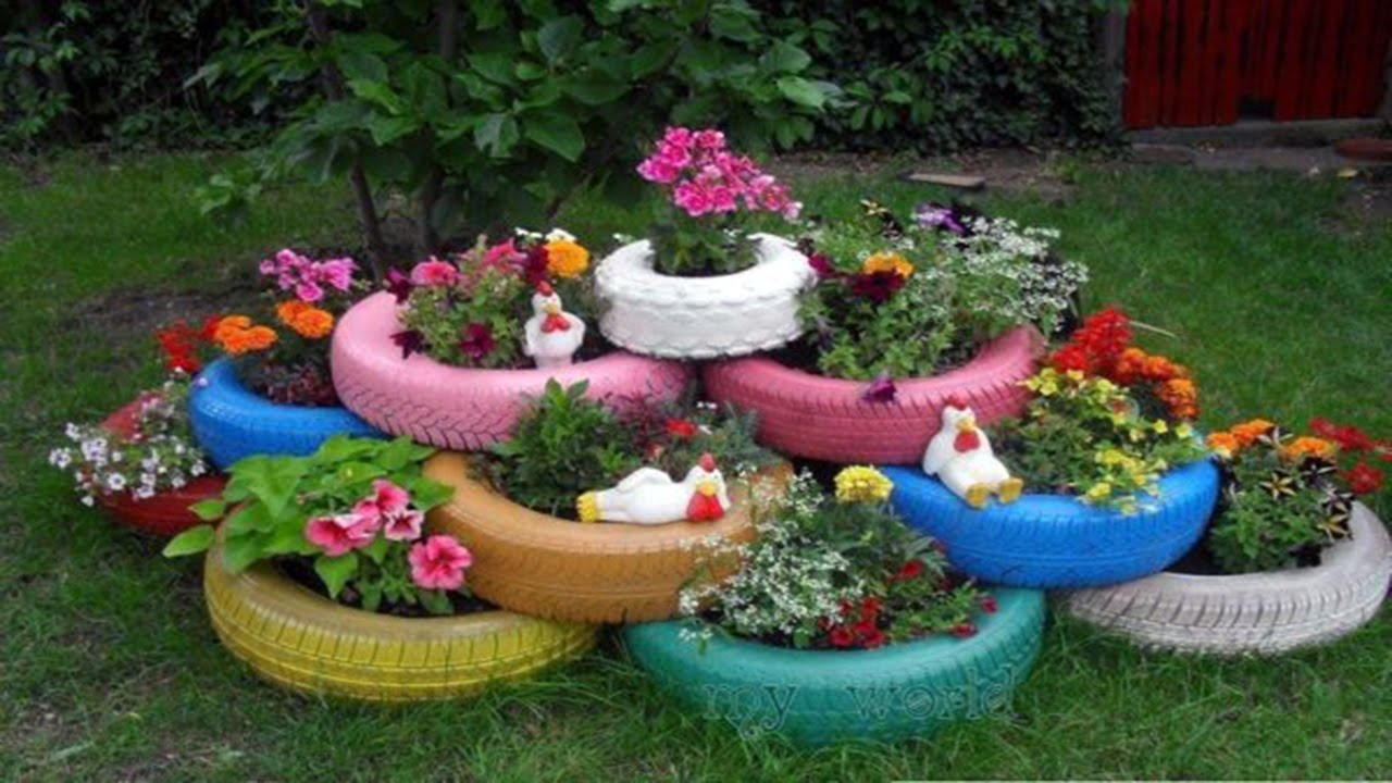 how to use old tires as garden planters full youtube